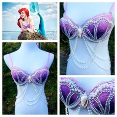 """This purple Shelly bra is perfect for any Ariel-inspired looks! The purple is available in a 34B and this style is also available in pink (34C) and blue…"""