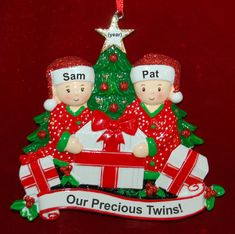 Personalized Twins Christmas Ornament Gifts Under the Tree | RussellRhodes.com Baby Ornaments, Personalized Christmas Ornaments, How To Make Ornaments, Christmas Tree Ornaments, Precious Children, Holiday Tree, Perfect Christmas Gifts, Easy Gifts, Gifts For Family