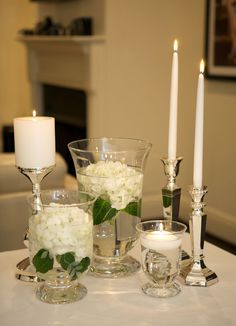 The hydrangea seems to be great for the hurrican shaped vase. Really Simple.