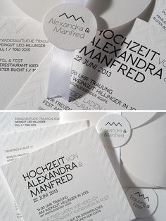 A T E L I E R W E R K S T A T TW I E N Moderne Hochzeitseinladung im Letterpress-Druck