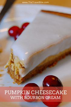 An easy step-by-step recipe for pumpkin cheesecake with bourbon cream. ~ http://thetravelbite.com