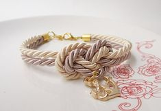 wedding favors, bridal shower gift,nautical bracelet with anchor,tie a knot bracelet in cream beige,beach wedding