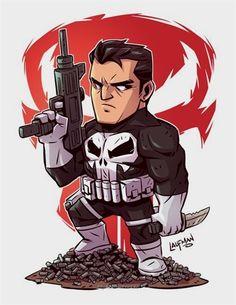Chibi The Punisher Marvel Dc Comics, Chibi Marvel, Marvel Cartoons, Marvel Art, Marvel Heroes, Comic Book Characters, Marvel Characters, Comic Character, Comic Books Art