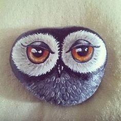 Grey-Owl-hand-painted-beach-rock-pebble...Love the eyes!!