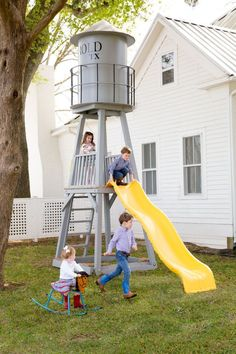 Playtime isn't reserved solely for inside. The water tower doubles as a super fun slide!