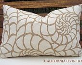 "Coastal NAUTILUS Lumbar Pillow Cover / 12"" x 18"" / Sand & Tan / Indoor Fabric / Hidden Zipper Closure / Decorative Pillow"