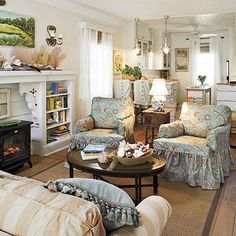 What a comfy room!  I just got a heater/fireplace like the one shown and I am loving it...