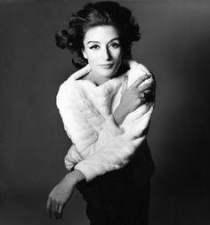 Anouk Aimee in short white mink pull-over, photo by Bert Stern, February 15, 1965, New York