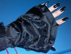 """""""Reversible Petal Gloves"""" Black Rose / Glitter Skull, by Cheyenne Hale...(these are sold)"""