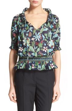 TORY BURCH Floral Print Smocked Peasant Top. #toryburch #cloth #