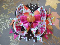 Fall Pumpkin Boutique Hair bow by AllThingsGirlyBows on Etsy, $8.00