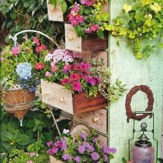 Garden Decor Repurposed Garden Containers and Tons of Great ideas for your plants - The Cottage Market Yard Art, Beautiful Gardens, Beautiful Flowers, Beautiful Gorgeous, Absolutely Gorgeous, The Secret Garden, Ways To Recycle, Reuse Recycle, Old Dressers