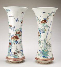 Arita, Hizen province [Japan], Pair of beaker vases 1670-90