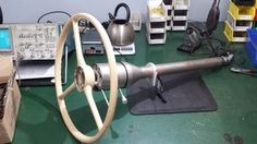 The client wanted tilt steering, but wanted the original steering wheel to be restored and used. An after market steering column was used to meet these expectations. An adapter had to be custom fabricated, in shop, to allow this union of old and new. Also, the horn button guts would not work with this upgrade, so new guts also had to be designed and built for the horn to work.