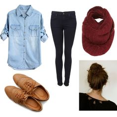 chambray button-up + skinny jeans + chunky knit burgundy infinity scarf + oxfords + messy bun