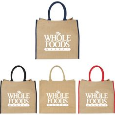 """This large jute tote has ample space for groceries, travel essentials and your logo! With an overall size of 14""""H x 15.75""""W x 7.8""""L, this tote features a large open main compartment with a Velcro closure and double 17"""" handles. Choose from several different colors and add an imprint of your brand name for a customized keepsake. Disclaimer: Minimum of 32pt. font size. Bold artwork only. No fine graphics or text. Select this large gift tote for your upcoming trade show or s..."""