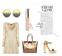 """(5) Gold style #fashion #goldandglow #followforfollow #likeforlike"" by savirafianiesa on Polyvore featuring Matthew Williamson, Nicole Coste and Beautycounter"