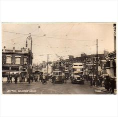 London East: Leyton, Baker's Arms: with Tram and Trolley Bus in view on eBid United Kingdom London History, Local History, Vintage London, Old London, East End London, Brewery, Paris Skyline, Postcards, United Kingdom