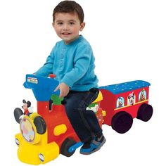 Disney Battery-Powered Ride Toy Mickey And Friends 2-in-1 Train With Trailer New #Disney