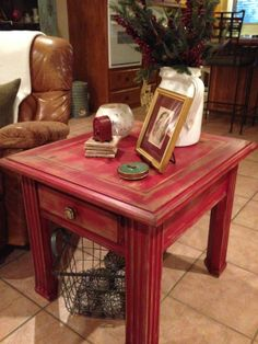 End Table Painted In A Barn Red And Decorated For Christmas.