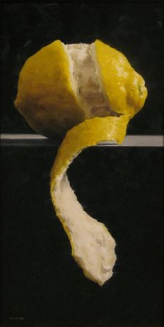 MICHAEL NAPLES: Oil. I like the unusual composition and the simple use of shape and colour which emphasises the texture of the fruit.
