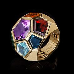 Mousson Atelier, collection Geometry, ring, Yellow gold 750, Sky topaz, Citrine, London topaz, Green tourmaline , Garnet, Lemon citrine, Amethyst, view 1