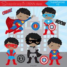 Superhero boys clipart, Superhero vector clipart, Hero clipart, boy Superhero, superhero kids, digital clip art, Commercial License - V3