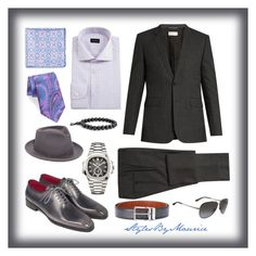 """Officially Dapper"" by mauricee-brewer on Polyvore featuring Yves Saint Laurent, Ermenegildo Zegna, Peter Millar, Santoni, Patek Philippe, Salvatore Ferragamo, Super Duper, Bling Jewelry, men's fashion and menswear"