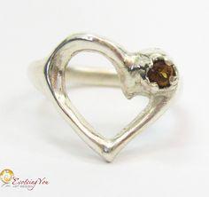 Silver Heart Ring – Spanish Topaz