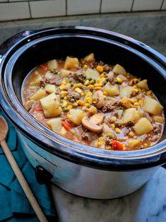 Slow Cooker Ground Beef Stew Ground Beef Stews, Slow Cooker Ground Beef, Ground Beef Recipes, Beef Casserole Recipes, Slow Cooker Recipes, Crockpot Recipes, Dip Recipes, Crock Pot Cooking