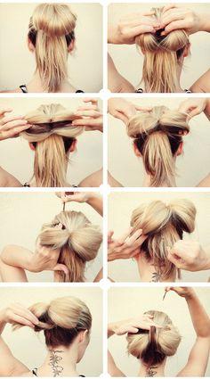 Hair bow bun so cute! Top Hairstyles, Pretty Hairstyles, Updo Hairstyle, Simple Hairstyles, Style Hairstyle, Latest Hairstyles, Wedding Hairstyles, Big Hair Bows, Hair In A Bow