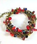 #Redbracelet, #crochetjewelry, #multistrand, #etsy, #handmadejewelry, #gemstones