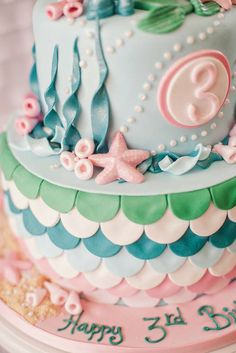 Details on an incredible mermaid birthday party cake! See more party planning ideas at CatchMyParty.com!