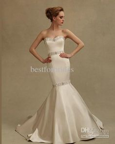 Wholesale Strapless Sweetheart Beaded Sashes Appliques Trumpet Mermaid 1502 J4 Eve Of Milady Wedding Gowns Bridal Dresses, Free shipping, $244.32/Piece | DHgate