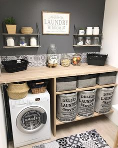Home Sweet Home: These Are the Biggest Home Décor Trends of 2019 Small Laundry Rooms, Laundry Room Organization, Laundry Room Design, Laundry In Bathroom, Organizing, Style At Home, Laundy Room, Laundry Room Inspiration, Laundry Room Remodel