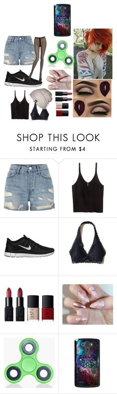 """im been dreaming about you"" by dimondinyyy ❤ liked on Polyvore featuring River Island, H&M, NIKE, Hollister Co., NARS Cosmetics, Boohoo and Emilio Cavallini"
