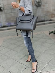 As you know I'm a big fan of neutral colors and aside from black, I love gray. Neutral Gray is one of Pantone's Colors for Fall Celine Belt Bag Mini, Celine Mini Luggage, Best Work Bag, Celine Handbags, Work Handbag, Best Designer Bags, Work Bags, Luxury Bags, Bag Accessories
