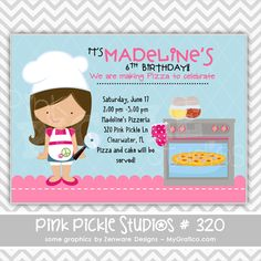 Pizza Baking Party Personalized Party Invitation-personalized invitation, photo card, photo invitation, digital, party invitation, birthday, shower, announcement, printable, print, diy,chef, cook, cooking