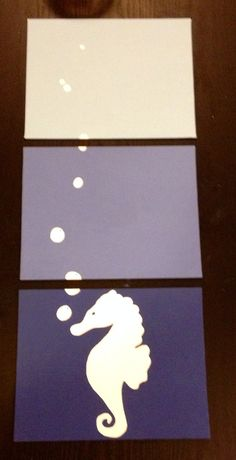 Three piece seahorse painting by ApricotInc on Etsy