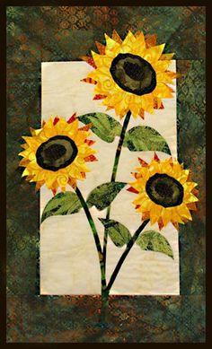 Sunflower floral appliqué quilt patterns by Debra Gabel of www. Sunflower Quilts, Sunflower Pattern, Sunflower Leaves, Beginner Quilt Patterns, Applique Quilt Patterns, Quilting Ideas, Small Quilts, Mini Quilts, Panel Quilts