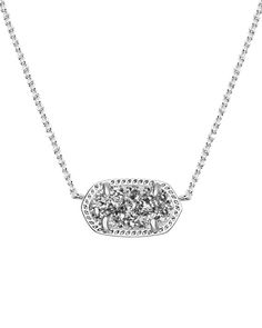 Elisa Silver Pendant Necklace in Platinum Drusy - Glam up your everyday look with this little pop of glitter in the Elisa Silver Pendant Necklace in Platinum Drusy by Kendra Scott.