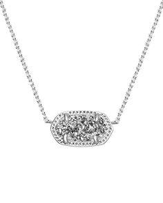 Elisa Silver Pendant Necklace in Platinum Drusy - Kendra Scott Jewelry.