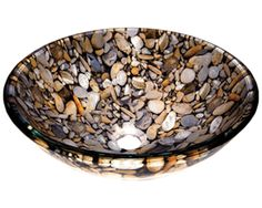 Home Elements Glass Bath Sink-Colorful cobblestone-diameter size In. - height In.