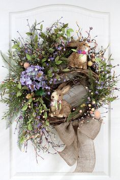 Easter Door Wreath Primitive Country Wreath by FloralsFromHome