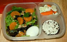Hubby's lunch for work: Cucumbers and carrots, a mixed spring salad with raspberry vinegarette, mandrin oranges, raisins, walnuts and a hard boiled egg. For dessert he has a red velvet cupcake with cream cheese icing. Photo and lunch courtesy of Jen of Get Lucky