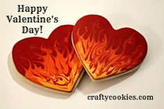beautiful marbleized fire cookie Crafty Cookies: Hearts on Fire! Valentine's Day Cookies