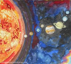 Popular Items For Planet Wall Art On Etsy Solar System Watercolor Print Space Painting Planets. diy home decor. cheap home decor online. pinterest home decor. peacock home decor.