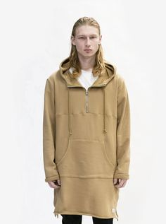 Profound Aesthetic Elongated Hooded Pullover Trench In Khaki - Medium