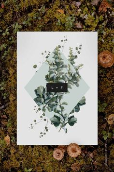 Modern green botanical Wedding Invitation by Sail and Swan Studio. The design features wild native greenery, green leaves and botanical elements in a green diamond shape, with old modern touches of black.