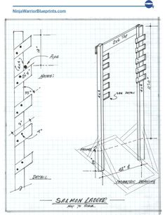 These free salmon ladder plans come complete with a detailed salmon ladder blueprint, exact materials list and a boat-load of time-saving instructions. Kids Backyard Playground, Backyard Gym, Backyard Playset, Backyard Obstacle Course, Backyard For Kids, Kids Ninja Warrior, Ninja Warrior Course, American Ninja Warrior, Parkour